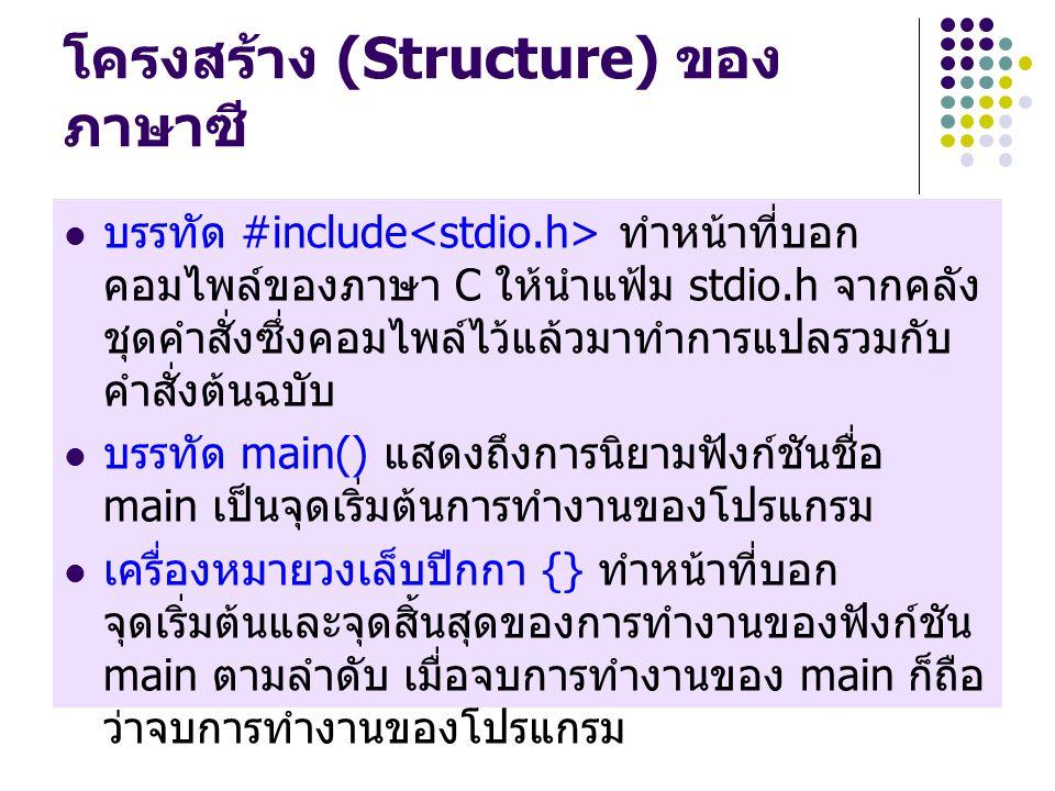 โครงสร้าง (Structure) ของ ภาษาซี บรรทัด #include ทำหน้าที่บอก คอมไพล์ของภาษา C ให้นำแฟ้ม stdio.h จากคลัง ชุดคำสั่งซึ่งคอมไพล์ไว้แล้วมาทำการแปลรวมกับ คำสั่งต้นฉบับ บรรทัด main() แสดงถึงการนิยามฟังก์ชันชื่อ main เป็นจุดเริ่มต้นการทำงานของโปรแกรม เครื่องหมายวงเล็บปีกกา {} ทำหน้าที่บอก จุดเริ่มต้นและจุดสิ้นสุดของการทำงานของฟังก์ชัน main ตามลำดับ เมื่อจบการทำงานของ main ก็ถือ ว่าจบการทำงานของโปรแกรม