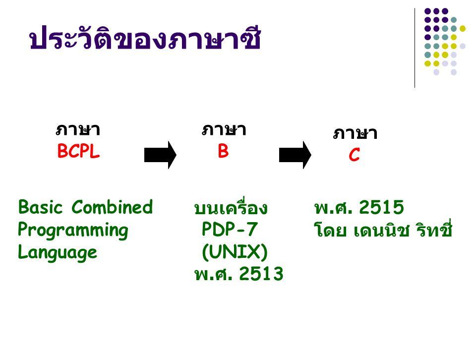 ภาษา BCPL ภาษา B ภาษา C บนเครื่อง PDP-7 (UNIX) พ. ศ. 2513 พ. ศ. 2515 โดย เดนนิช ริทชี่ Basic Combined Programming Language ประวัติของภาษาซี