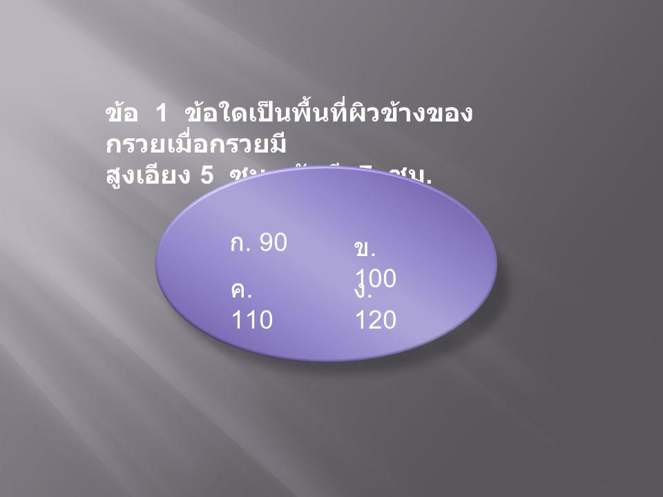 ข้อ 1 ข้อใดเป็นพื้นที่ผิวข้างของ กรวยเมื่อกรวยมี สูงเอียง 5 ซม. รัศมี 7 ซม. ก. 90 ข. 100 ค. 110 ง. 120