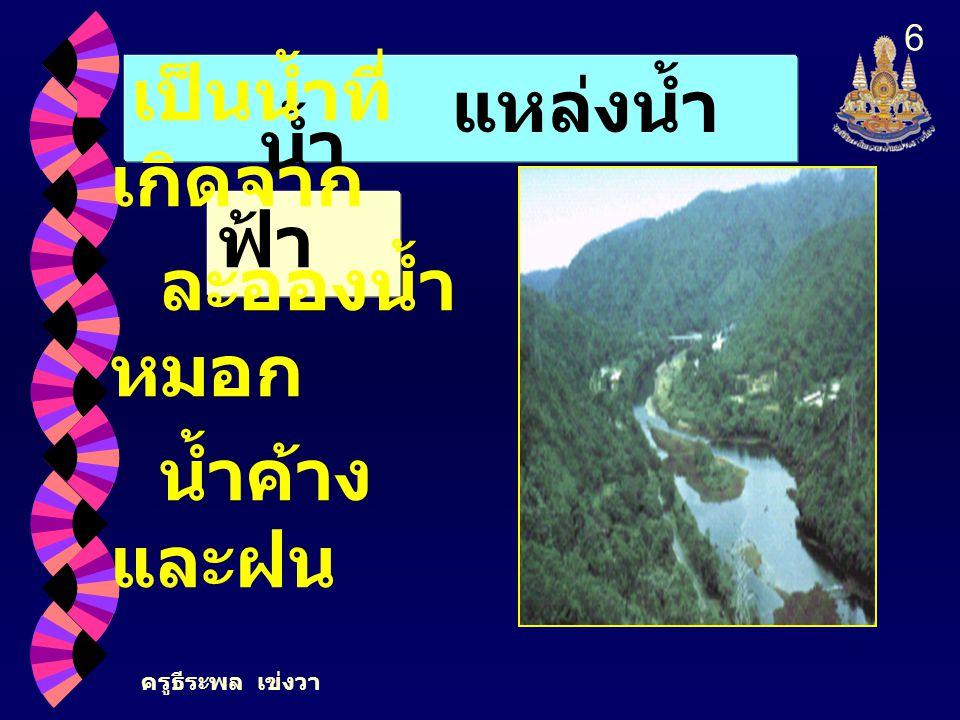ครูธีระพล เข่งวา 6 แหล่งน้ำ น้ำ ฟ้า เป็นน้ำที่ เกิดจาก ละอองน้ำ หมอก น้ำค้าง และฝน