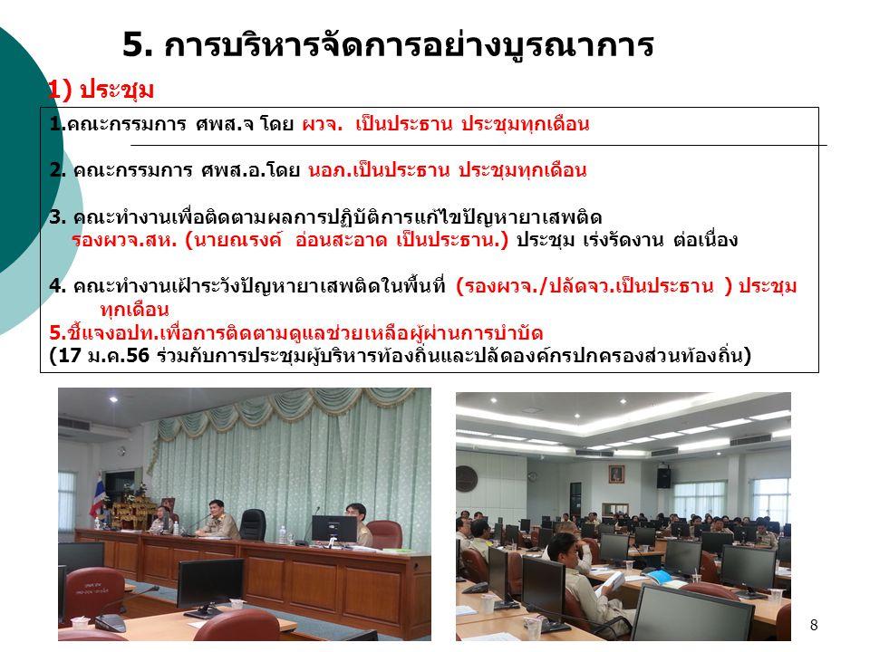 8 5. การบริหารจัดการอย่างบูรณาการ 1.คณะกรรมการ ศพส.จ โดย ผวจ. เป็นประธาน ประชุมทุกเดือน 2. คณะกรรมการ ศพส.อ.โดย นอภ.เป็นประธาน ประชุมทุกเดือน 3. คณะทำ