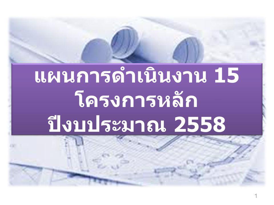 แผนการดำเนินงาน 15 โครงการหลัก ปีงบประมาณ 2558 1