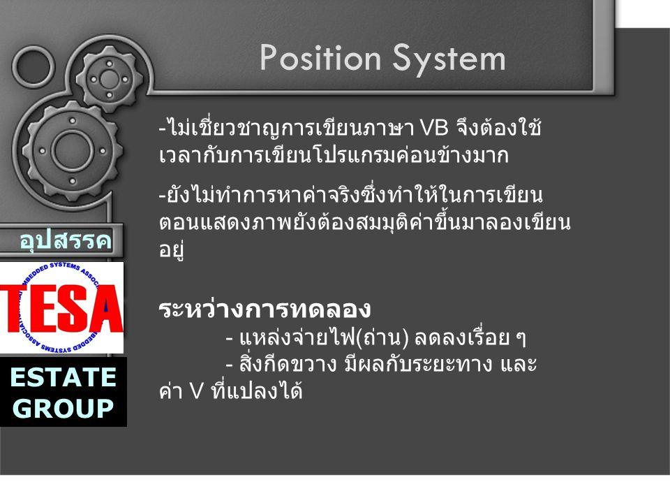 Position System อุปสรรค ESTATE GROUP ระหว่างการทดลอง - แหล่งจ่ายไฟ ( ถ่าน ) ลดลงเรื่อย ๆ - สิ่งกีดขวาง มีผลกับระยะทาง และ ค่า V ที่แปลงได้ - ไม่เชี่ยวชาญการเขียนภาษา VB จึงต้องใช้ เวลากับการเขียนโปรแกรมค่อนข้างมาก - ยังไม่ทำการหาค่าจริงซึ่งทำให้ในการเขียน ตอนแสดงภาพยังต้องสมมุติค่าขึ้นมาลองเขียน อยู่