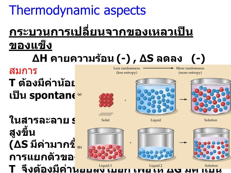 กระบวนการเปลี่ยนจากของเหลวเป็น ของแข็ง ΔH คายความร้อน (-), ΔS ลดลง (-) สมการ ΔG = ΔH – TΔS T ต้องมีค่าน้อยๆ เพื่อให้ ΔG มีค่าเป็น (-) จึงจะ เป็น spont