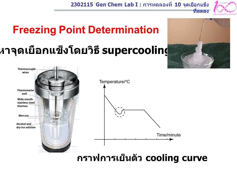 Freezing Point Determination การหาจุดเยือกแข็งโดยวิธี supercooling กราฟการเย็นตัว cooling curve