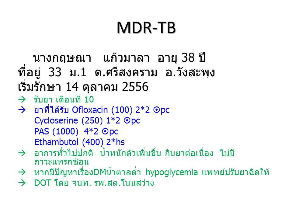 MDR-TB นางกฤษณา แก้วมาลา อายุ 38 ปี ที่อยู่ 33 ม.1 ต.ศรีสงคราม อ.วังสะพุง เริ่มรักษา 14 ตุลาคม 2556  รับยา เดือนที่ 10  ยาที่ได้รับ Ofloxacin (100)