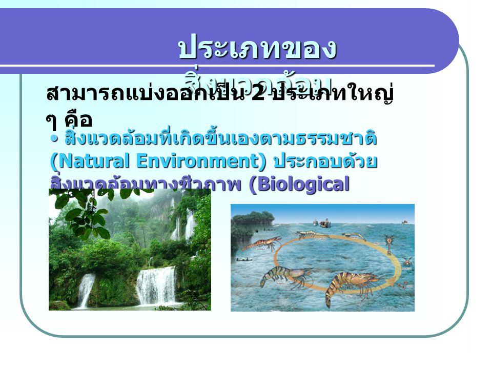 ประเภทของ สิ่งแวดล้อม สามารถแบ่งออกเป็น 2 ประเภทใหญ่ ๆ คือ สิ่งแวดล้อมที่เกิดขึ้นเองตามธรรมชาติ (Natural Environment) ประกอบด้วย สิ่งแวดล้อมทางชีวภาพ