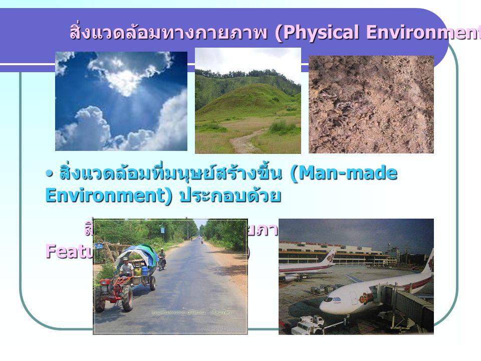 สิ่งแวดล้อมทางกายภาพ (Physical Environment) สิ่งแวดล้อมทางกายภาพ (Physical Environment) สิ่งแวดล้อมที่มนุษย์สร้างขึ้น (Man-made Environment) ประกอบด้วย สิ่งแวดล้อมที่มนุษย์สร้างขึ้น (Man-made Environment) ประกอบด้วย สิ่งแวดล้อมที่เป็นกายภาพ (Physical- Feature Environment) สิ่งแวดล้อมที่เป็นกายภาพ (Physical- Feature Environment)