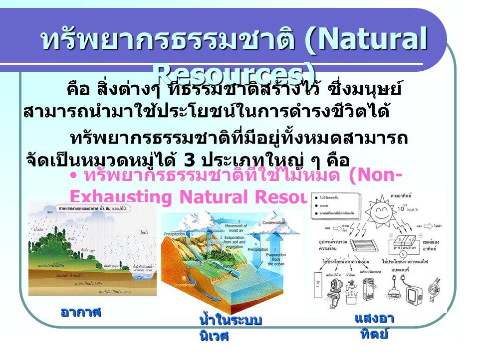 ทรัพยากรธรรมชาติ (Natural Resources) คือ สิ่งต่างๆ ที่ธรรมชาติสร้างไว้ ซึ่งมนุษย์ สามารถนำมาใช้ประโยชน์ในการดำรงชีวิตได้ ทรัพยากรธรรมชาติที่มีอยู่ทั้งหมดสามารถ จัดเป็นหมวดหมู่ได้ 3 ประเภทใหญ่ ๆ คือ ทรัพยากรธรรมชาติที่ใช้ไม่หมด (Non- Exhausting Natural Resources) อากาศ น้ำในระบบ นิเวศ แสงอา ทิตย์