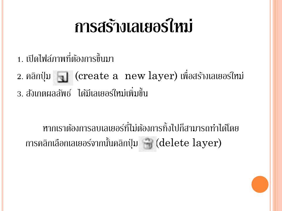 การสร้างเลเยอร์ใหม่ 1. เปิดไฟล์ภาพที่ต้องการขึ้นมา 2. คลิกปุ่ม (create a new layer) เพื่อสร้างเลเยอร์ใหม่ 3. สังเกตผลลัพธ์ ได้มีเลเยอร์ใหม่เพิ่มขึ้น ห