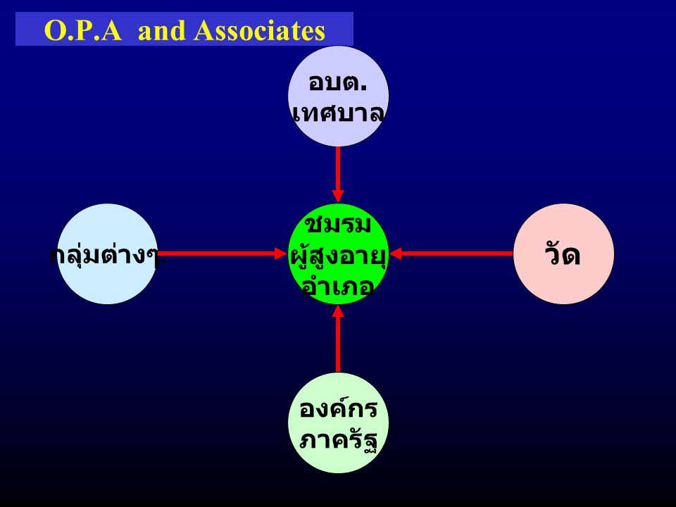 O.P.A and Associates ชมรม ผู้สูงอายุ อำเภอ กลุ่มต่างๆ. อบต. เทศบาล องค์กร ภาครัฐ วัด