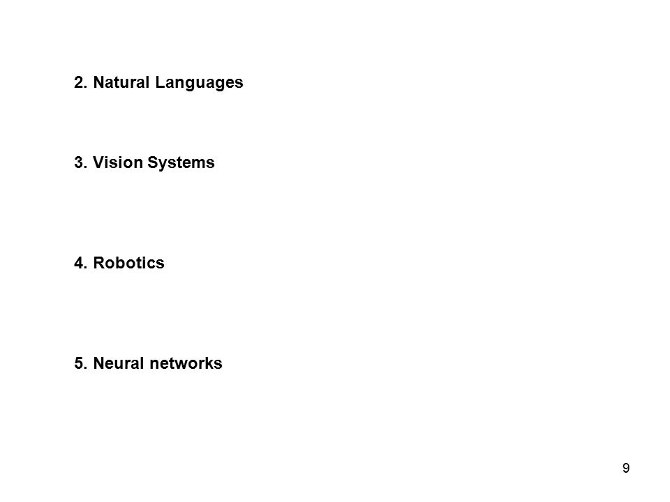 9 2. Natural Languages 3. Vision Systems 4. Robotics 5. Neural networks