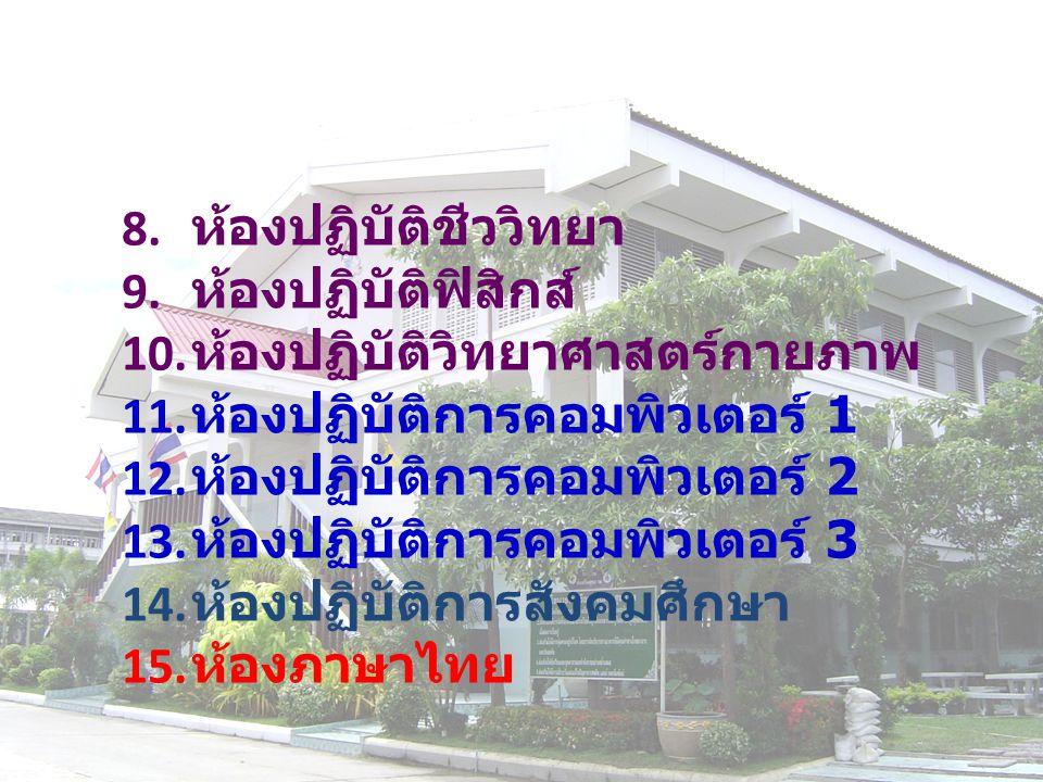 8. ห้องปฏิบัติชีววิทยา 9. ห้องปฏิบัติฟิสิกส์ 10.