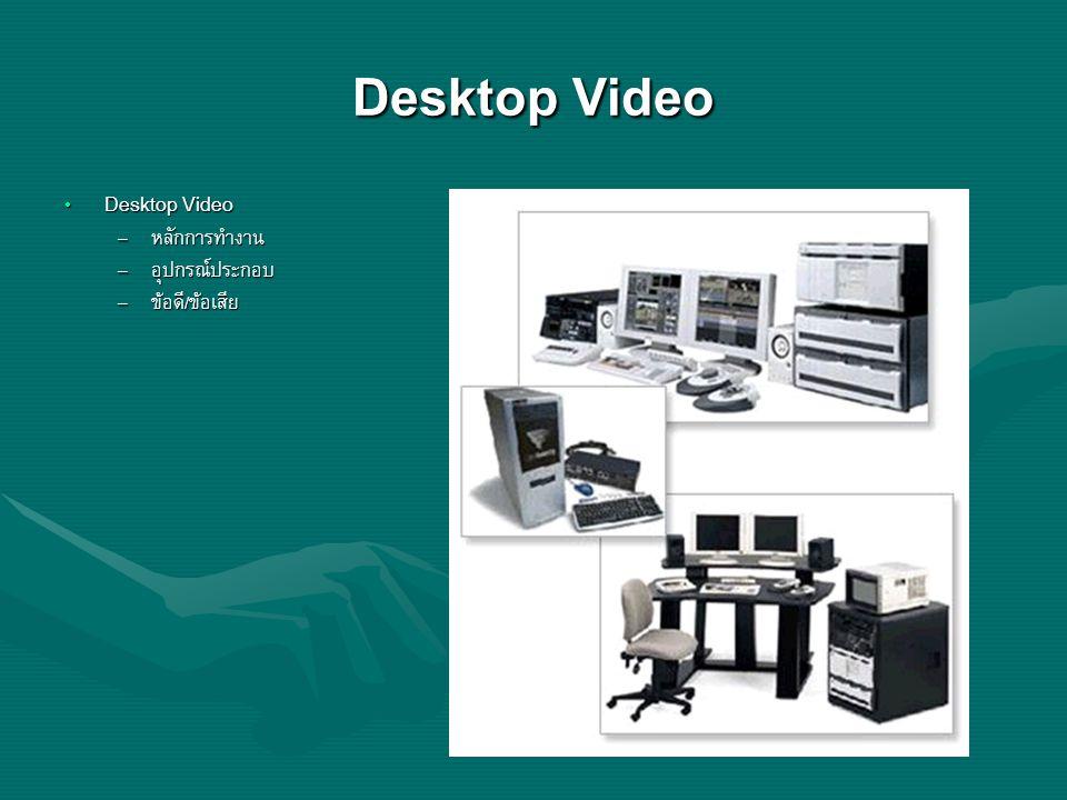 Desktop Video Desktop Video Desktop Video – หลักการทำงาน – อุปกรณ์ประกอบ – ข้อดี/ข้อเสีย