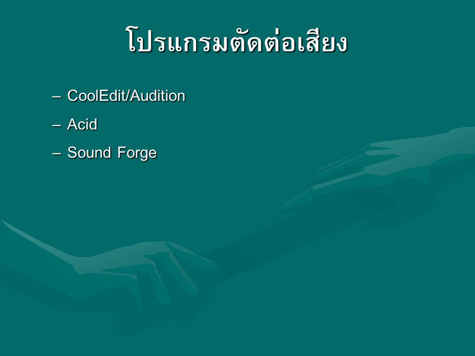 โปรแกรมตัดต่อเสียง – CoolEdit/Audition – Acid – Sound Forge