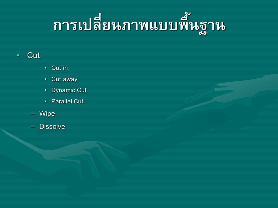 การเปลี่ยนภาพแบบพื้นฐาน Cut Cut Cut in Cut in Cut away Cut away Dynamic Cut Dynamic Cut Parallel Cut Parallel Cut – Wipe – Dissolve