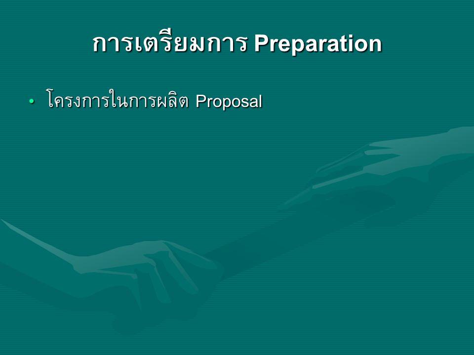 การเตรียมการ Preparation โครงการในการผลิต Proposal โครงการในการผลิต Proposal