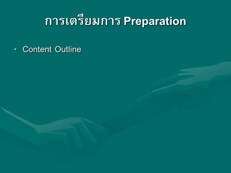 การเตรียมการ Preparation Content Outline Content Outline