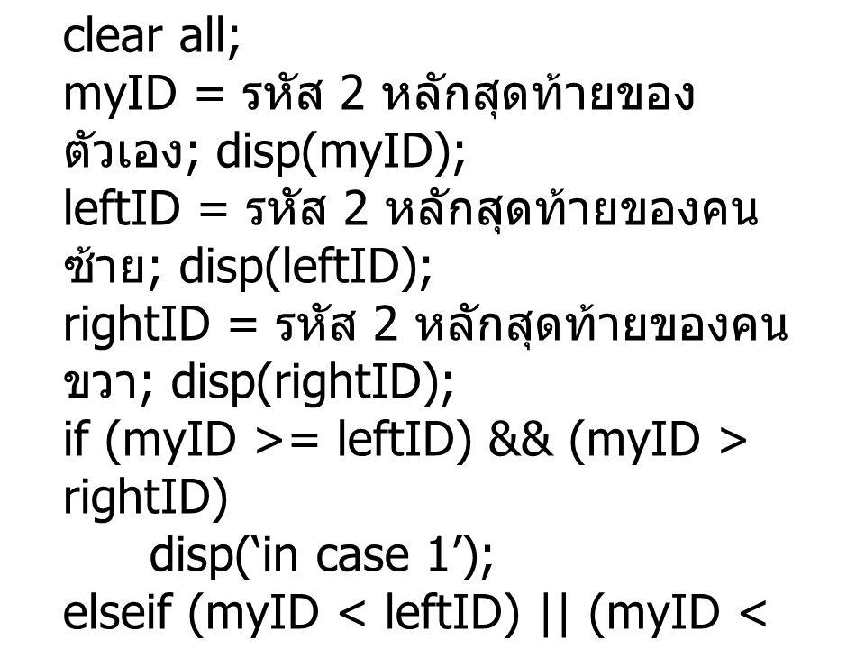 clear all; myID = รหัส 2 หลักสุดท้ายของ ตัวเอง ; disp(myID); leftID = รหัส 2 หลักสุดท้ายของคน ซ้าย ; disp(leftID); rightID = รหัส 2 หลักสุดท้ายของคน ขวา ; disp(rightID); if (myID >= leftID) && (myID > rightID) disp('in case 1'); elseif (myID < leftID) || (myID < rightID) disp('in case 2'); elseif (myID < leftID) disp('in case 3'); end;