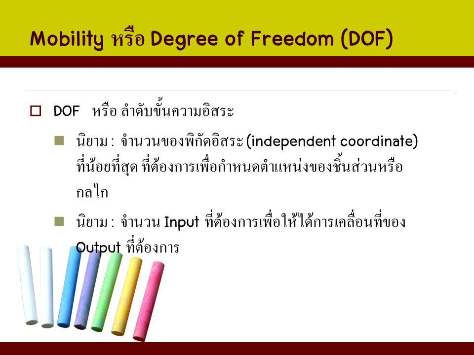  DOF หรือ ลำดับขั้นความอิสระ นิยาม : จำนวนของพิกัดอิสระ (independent coordinate) ที่น้อยที่สุด ที่ต้องการเพื่อกำหนดตำแหน่งของชิ้นส่วนหรือ กลไก นิยาม