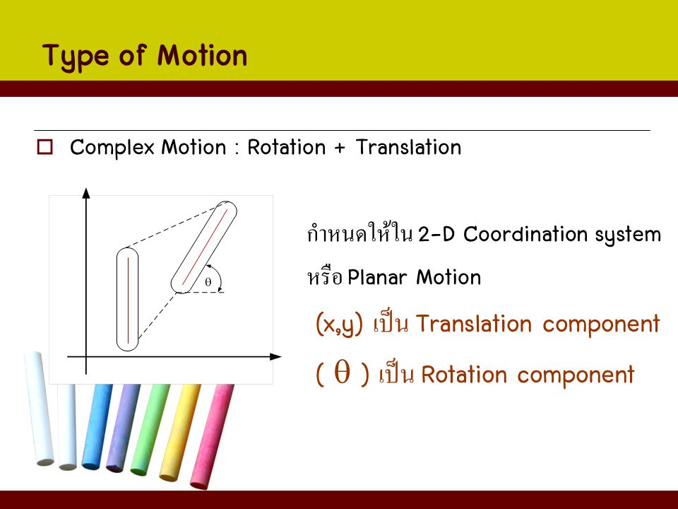 Type of Motion  Complex Motion : Rotation + Translation กำหนดให้ใน 2-D Coordination system หรือ Planar Motion (x,y) เป็น Translation component (  )