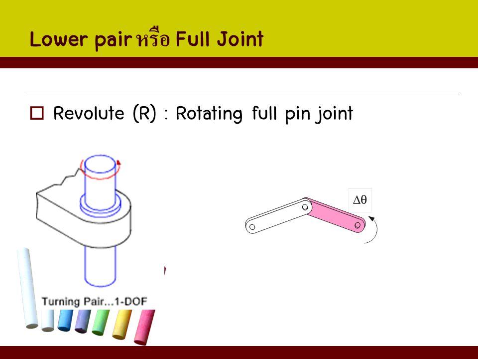 Lower pair หรือ Full Joint  Revolute (R) : Rotating full pin joint
