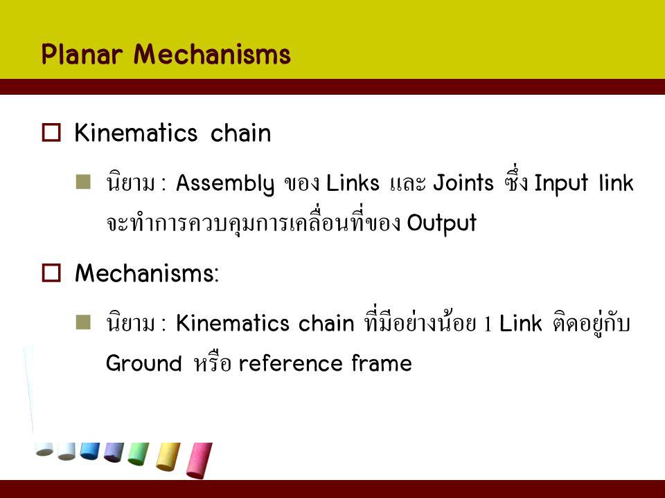 Planar Mechanisms  Kinematics chain นิยาม : Assembly ของ Links และ Joints ซึ่ง Input link จะทำการควบคุมการเคลื่อนที่ของ Output  Mechanisms: นิยาม :