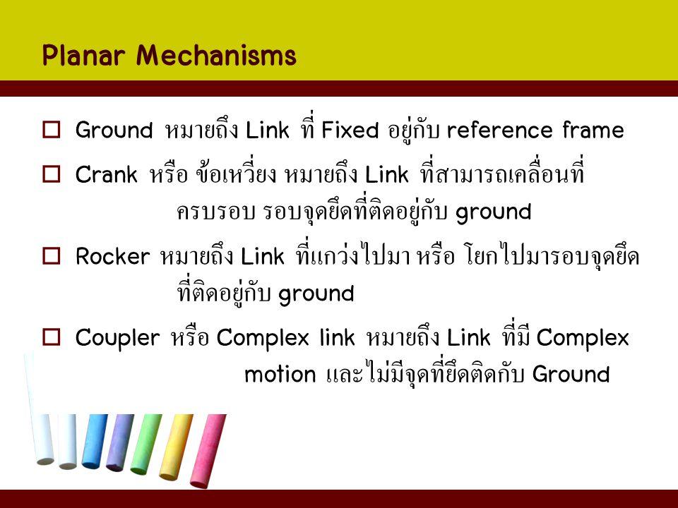 Planar Mechanisms  Ground หมายถึง Link ที่ Fixed อยู่กับ reference frame  Crank หรือ ข้อเหวี่ยง หมายถึง Link ที่สามารถเคลื่อนที่ ครบรอบ รอบจุดยึดที่