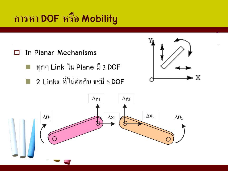 การหา DOF หรือ Mobility  In Planar Mechanisms ทุกๆ Link ใน Plane มี 3 DOF 2 Links ที่ไม่ต่อกัน จะมี 6 DOF