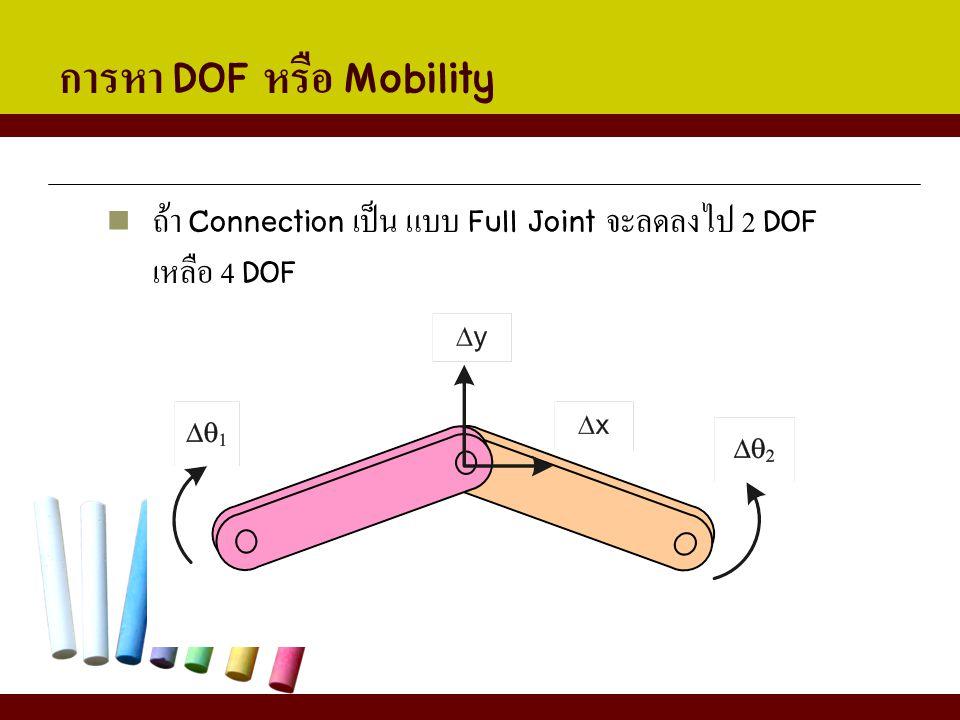 การหา DOF หรือ Mobility ถ้า Connection เป็น แบบ Full Joint จะลดลงไป 2 DOF เหลือ 4 DOF