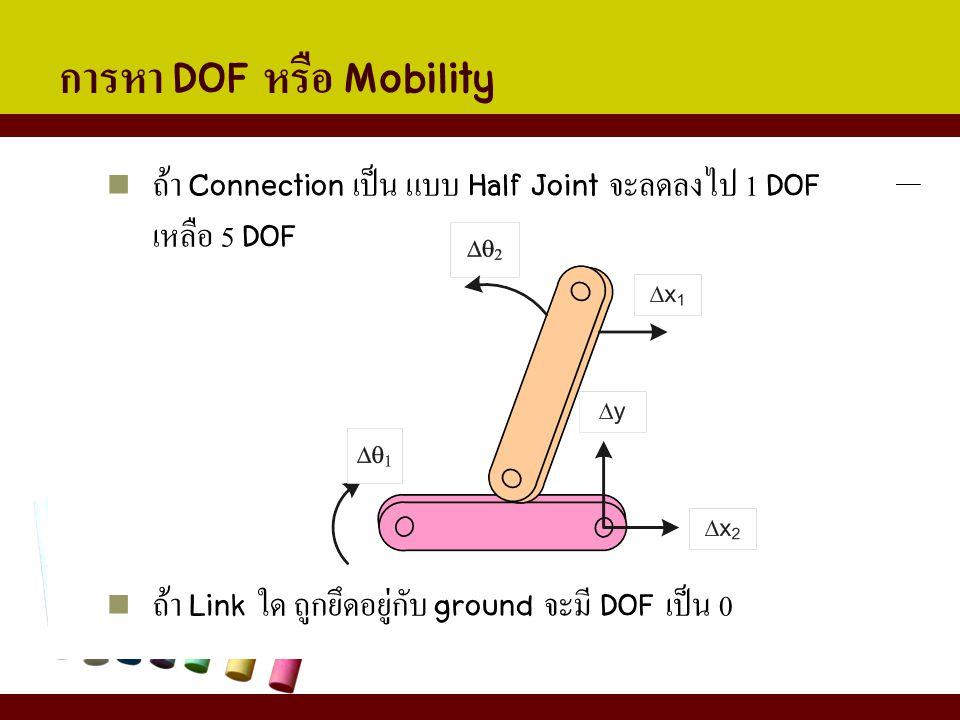 การหา DOF หรือ Mobility ถ้า Connection เป็น แบบ Half Joint จะลดลงไป 1 DOF เหลือ 5 DOF ถ้า Link ใด ถูกยึดอยู่กับ ground จะมี DOF เป็น 0