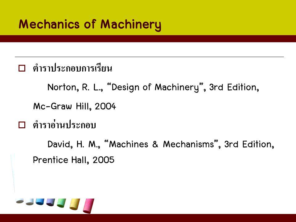 เนื้อหาการศึกษา สัปดาห์ที่เนื้อหา/หัวข้อ 1หลักการพื้นฐานของคิเนมาติกส์และกลไก 2Introduction to Mechanisms ทบทวนเรื่อง Vector 3การวิเคราะห์กลไกด้วยการวาดรูปและด้วยวิธีทางคณิตศาสตร์ 4วิเคราะห์ความเร็วด้วยการวาดรูปและด้วยวิธีทางคณิตศาสตร์ 5ความเร่งของกลไกด้วยการวาดรูปและด้วยวิธีทางคณิตศาสตร์ Mid-term
