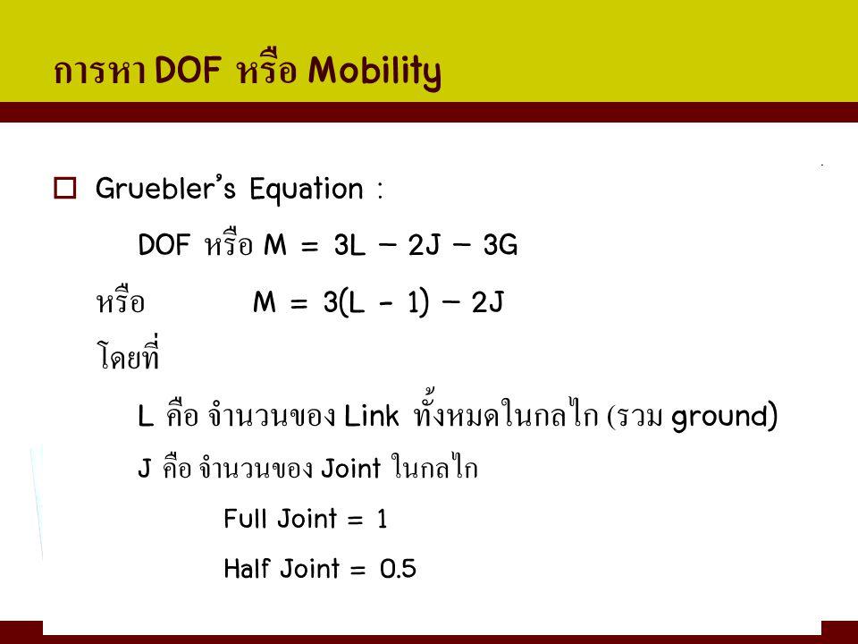 การหา DOF หรือ Mobility  Gruebler's Equation : DOF หรือ M = 3L – 2J – 3G หรือ M = 3(L - 1) – 2J โดยที่ L คือ จำนวนของ Link ทั้งหมดในกลไก ( รวม ground
