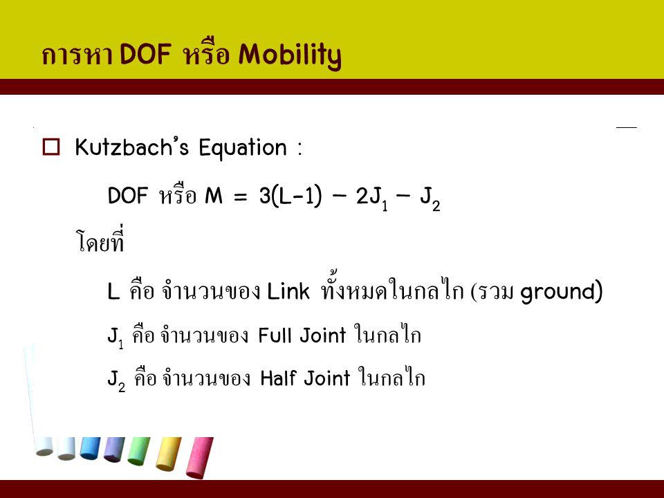การหา DOF หรือ Mobility  Kutzbach's Equation : DOF หรือ M = 3(L-1) – 2J 1 – J 2 โดยที่ L คือ จำนวนของ Link ทั้งหมดในกลไก ( รวม ground) J 1 คือ จำนวนข
