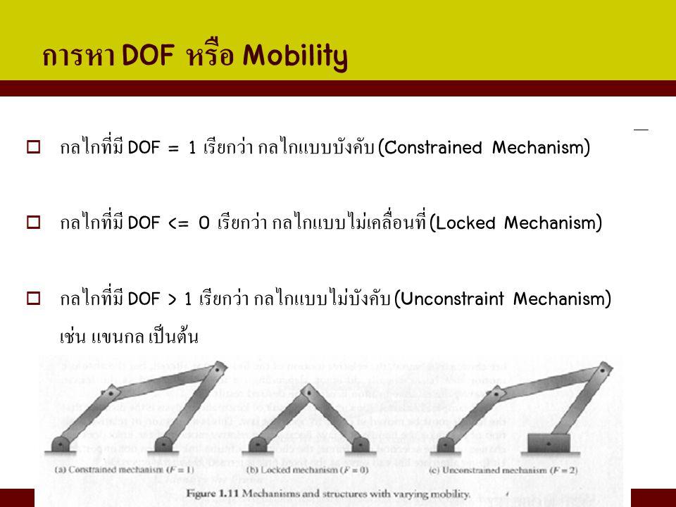การหา DOF หรือ Mobility  กลไกที่มี DOF = 1 เรียกว่า กลไกแบบบังคับ (Constrained Mechanism)  กลไกที่มี DOF <= 0 เรียกว่า กลไกแบบไม่เคลื่อนที่ (Locked