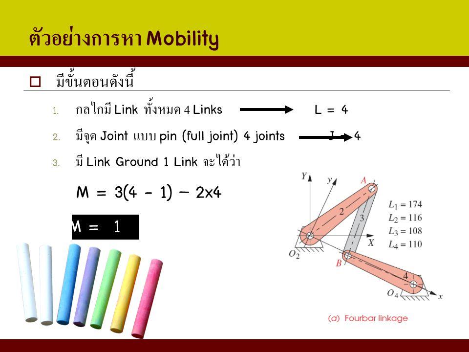 ตัวอย่างการหา Mobility  มีขั้นตอนดังนี้ 1. กลไกมี Link ทั้งหมด 4 Links L = 4 2. มีจุด Joint แบบ pin (full joint) 4 joints J = 4 3. มี Link Ground 1 L