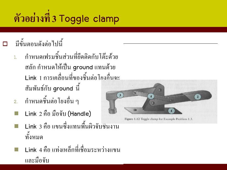 ตัวอย่างที่ 3 Toggle clamp  มีขั้นตอนดังต่อไปนี้ 1. กำหนดเฟรมชิ้นส่วนที่ยึดติดกับโต๊ะด้วย สลัก กำหนดให้เป็น ground แทนด้วย Link 1 การเคลื่อนที่ของชิ้
