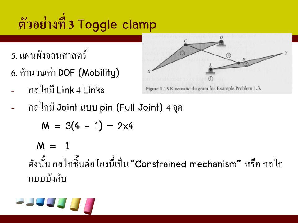 ตัวอย่างที่ 3 Toggle clamp 5. แผนผังจลนศาสตร์ 6. คำนวณค่า DOF (Mobility) - กลไกมี Link 4 Links - กลไกมี Joint แบบ pin (Full Joint) 4 จุด M = 3(4 - 1)