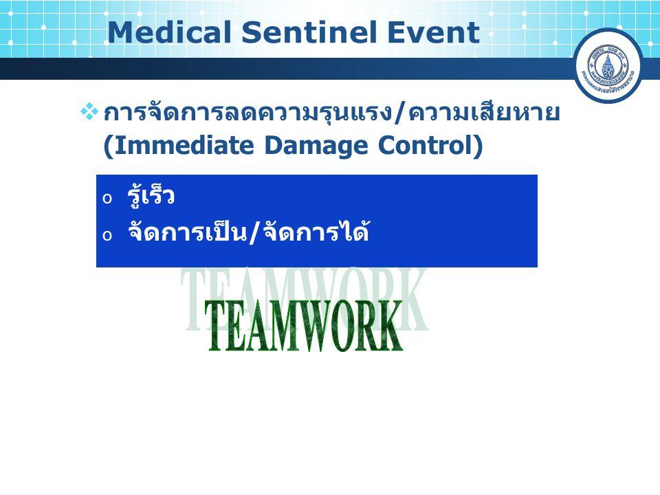 การจัดการลดความรุนแรง/ความเสียหาย (Immediate Damage Control) Medical Sentinel Event o รู้เร็ว o จัดการเป็น/จัดการได้