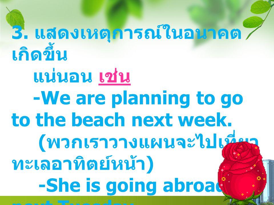 Text in here 3. แสดงเหตุการณ์ในอนาคต เกิดขึ้น แน่นอน เช่น -We are planning to go to the beach next week. ( พวกเราวางแผนจะไปเที่ยว ทะเลอาทิตย์หน้า ) -S