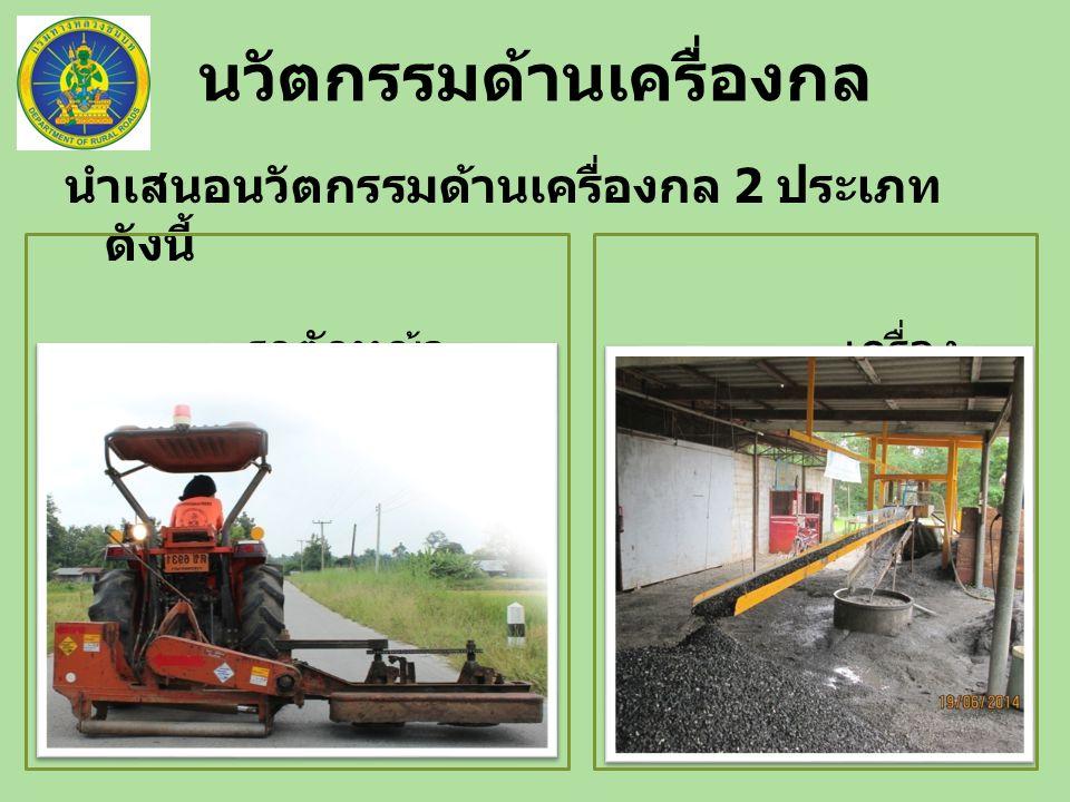 นำเสนอนวัตกรรมด้านเครื่องกล 2 ประเภท ดังนี้ รถตัดหญ้า เครื่อง ล้างหิน