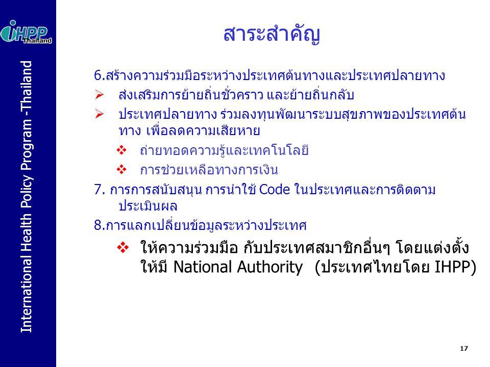 International Health Policy Program -Thailand สาระสำคัญ 6.สร้างความร่วมมือระหว่างประเทศต้นทางและประเทศปลายทาง  ส่งเสริมการย้ายถิ่นชั่วคราว และย้ายถิ่นกลับ  ประเทศปลายทาง ร่วมลงทุนพัฒนาระบบสุขภาพของประเทศต้น ทาง เพื่อลดความเสียหาย  ถ่ายทอดความรู้และเทคโนโลยี  การช่วยเหลือทางการเงิน 7.