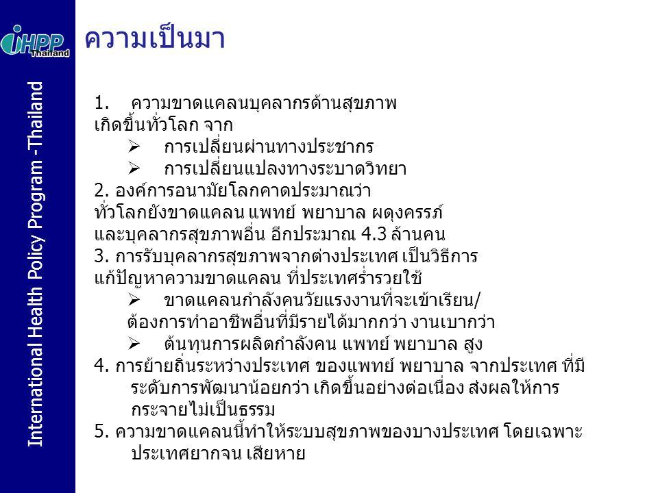 International Health Policy Program -Thailand ความเป็นมา 1.ความขาดแคลนบุคลากรด้านสุขภาพ เกิดขึ้นทั่วโลก จาก  การเปลี่ยนผ่านทางประชากร  การเปลี่ยนแปล