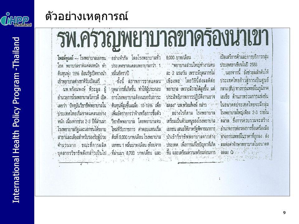 International Health Policy Program -Thailand ทำไมต้องมี The WHO Global Code of Practice on the International Recruitment of Health Personnel ความเพียงพอและการกระจายอย่างทั่วถึงของกำลังคนด้าน สุขภาพเป็นพื้นฐานของระบบสุขภาพ การขาดแคลนแพทย์ พยาบาล เป็นปัญหาเกิดขึ้นอย่างรุนแรงใน หลายประเทศ และจัดเป็นปัญหาที่คุกคามระบบสุขภาพ และ ลดทอนศักยภาพของประเทศเหล่านี้ในการดำเนินงานให้บรรลุ เป้าหมายของการพัฒนาแห่งสหัสวรรษ (Millennium Development Goals) และเป้าหมายการพัฒนาด้านอื่นๆ ที่ได้ตก ลงไว้ในระดับนานาชาติ Kampala Declaration ซึ่งได้มีรับการรับรอง ใน First Global Forum on Human Resources for Health (2 – 7 มีค 2551) และการประชุม G8 ในปี 2551 และ 2552 สนับสนุนให้WHO เร่งรัดดำเนินการพัฒนาและให้การรับรอง ประมวลหลักปฏิบัติว่า ด้วยการสรรหาบุคลากรด้านสุขภาพเข้าทำงานระหว่างประเทศ 10