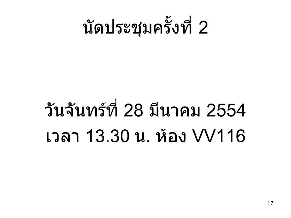 นัดประชุมครั้งที่ 2 วันจันทร์ที่ 28 มีนาคม 2554 เวลา 13.30 น. ห้อง VV116 17