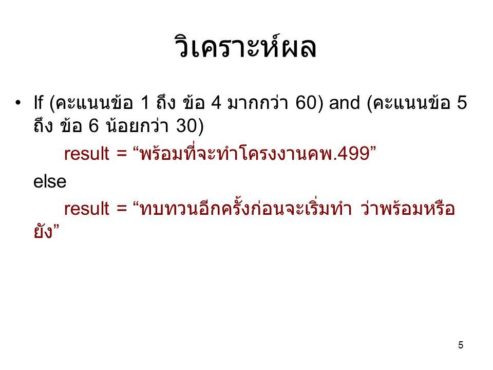 วิเคราะห์ผล If ( คะแนนข้อ 1 ถึง ข้อ 4 มากกว่า 60) and ( คะแนนข้อ 5 ถึง ข้อ 6 น้อยกว่า 30) result = พร้อมที่จะทำโครงงานคพ.499 else result = ทบทวนอีกครั้งก่อนจะเริ่มทำ ว่าพร้อมหรือ ยัง 5