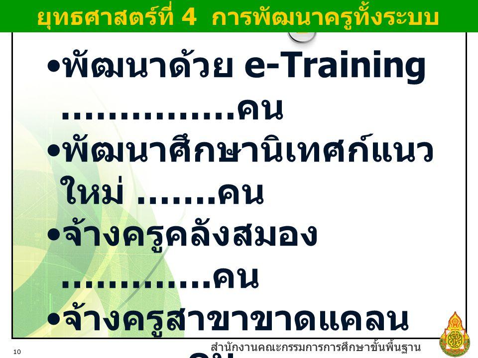 สำนักงานคณะกรรมการการศึกษาขั้นพื้นฐาน 10 สำนักงานคณะกรรมการการศึกษาขั้นพื้นฐาน พัฒนาด้วย e-Training …………… คน พัฒนาศึกษานิเทศก์แนว ใหม่ ……. คน จ้างครูค