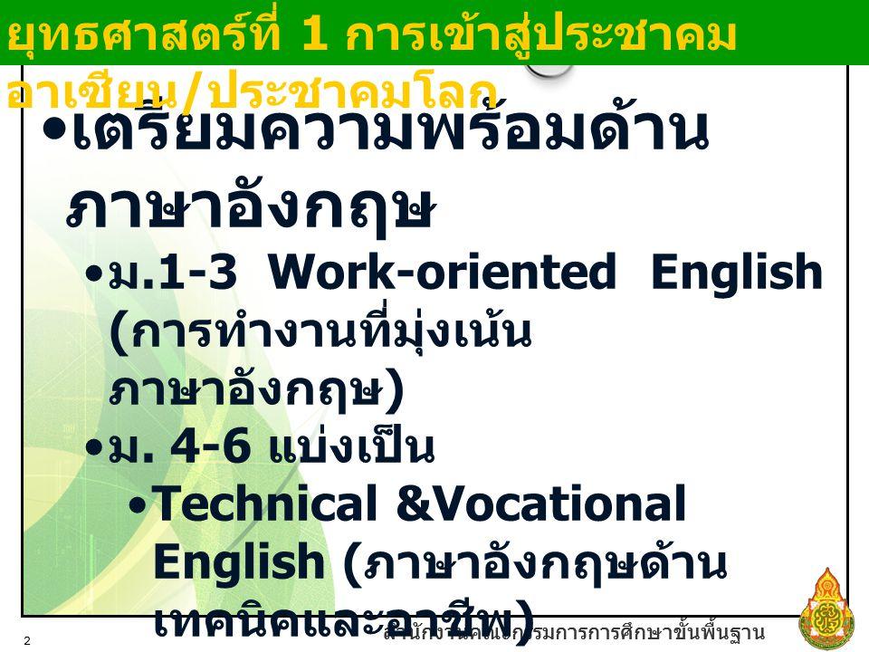 สำนักงานคณะกรรมการการศึกษาขั้นพื้นฐาน 2 เตรียมความพร้อมด้าน ภาษาอังกฤษ ม.1-3 Work-oriented English ( การทำงานที่มุ่งเน้น ภาษาอังกฤษ ) ม. 4-6 แบ่งเป็น