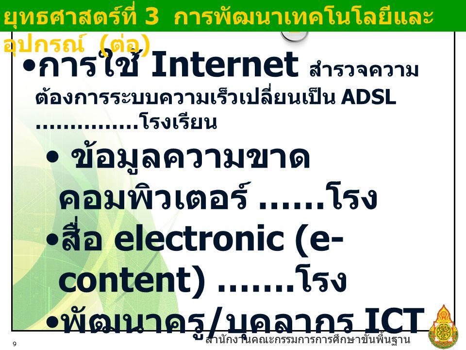 สำนักงานคณะกรรมการการศึกษาขั้นพื้นฐาน 9 การใช้ Internet สำรวจความ ต้องการระบบความเร็วเปลี่ยนเป็น ADSL …………… โรงเรียน ข้อมูลความขาด คอมพิวเตอร์ …… โรง