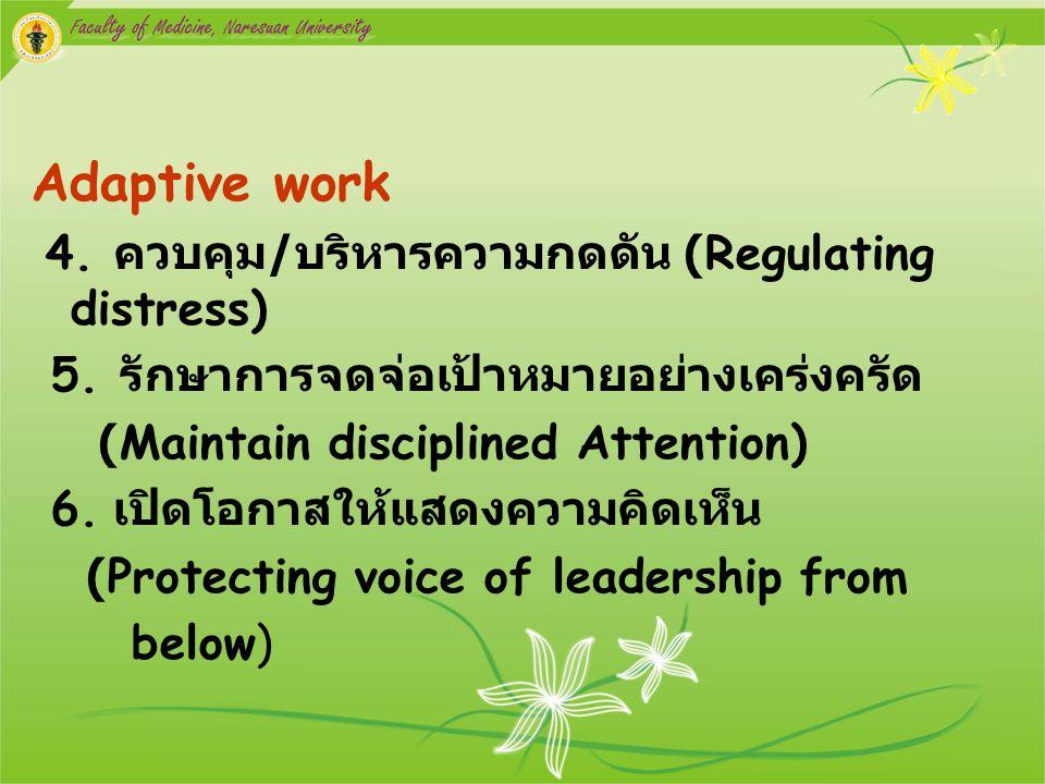 Adaptive work 4. ควบคุม / บริหารความกดดัน (Regulating distress) 5. รักษาการจดจ่อเป้าหมายอย่างเคร่งครัด (Maintain disciplined Attention) 6. เปิดโอกาสให
